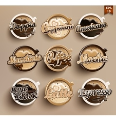 Set of different coffee vector image