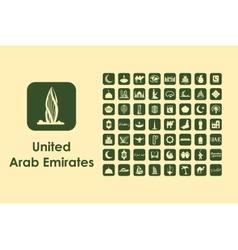 Set of United Arab Emirates simple icons vector