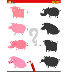 shadow game with cute pig characters vector image