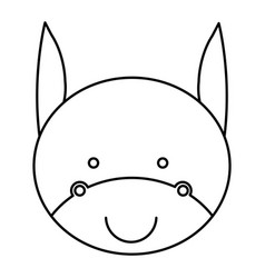 Silhouette caricature cute face donkey animal farm vector