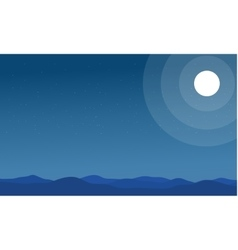 Silhouette of hills and moon scenery vector
