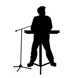 Silhouettes of musicians with electronic piano vector