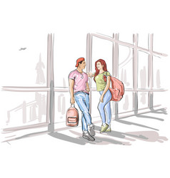Sketch couple in airport lounge waiting departure vector