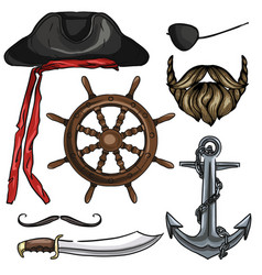sketch pirate attributes icon vector image