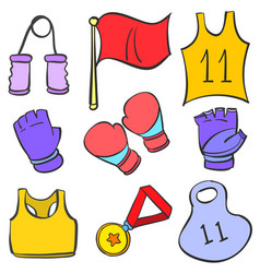 Sport equipment doodle style vector