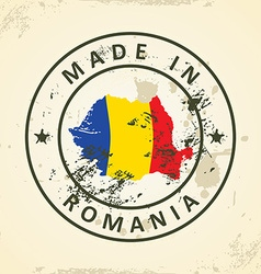 Stamp with map flag of Romania vector image