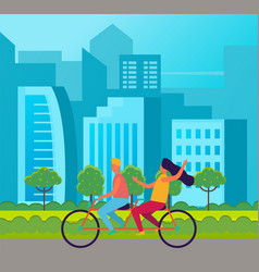 tandem bicycle riders girl and guy riding on vector image
