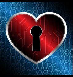 technology cyber security keyhole love heart vector image