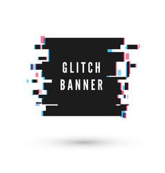 technology square banner form in distorted glitch vector image