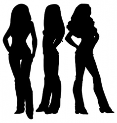 three female silhouettes vector image vector image