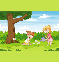 Two girls in the garden funny cartoon character vector