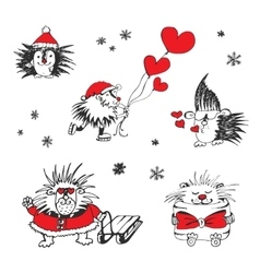 Valentines day card with hedgehogs and hearts vector image