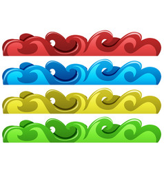 waves design in four colors vector image