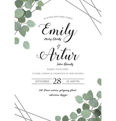 Wedding floral watercolor invite with eucalyptus vector