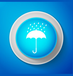white umbrella and rain drops icon isolated vector image
