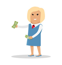 woman character with money vector image