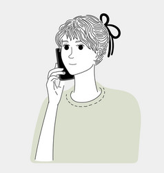 woman talking on phone with a friend vector image