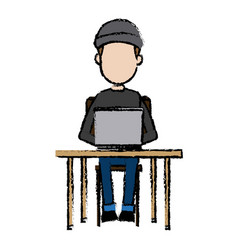 Hacker character sitting work laptop technology vector