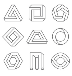Impossible geometric shapes in linear outline vector image vector image