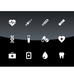 Medical icons on black background vector image vector image