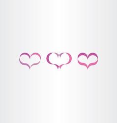 purple heart icons set love symbol vector image vector image
