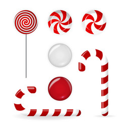 sweet candy of various forms cane circle on stick vector image vector image