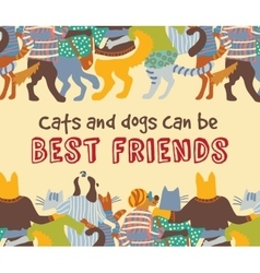 Cats and dogs pets friends hugs frame border card vector image