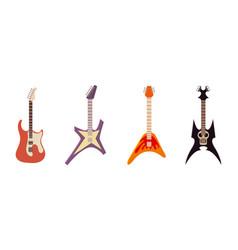 electric guitar icon set cartoon style vector image