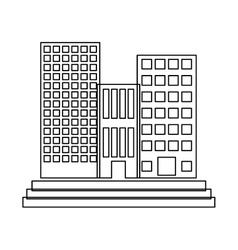 figure buildings and city scene line sticker vector image vector image