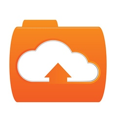 orange folder icon with the image of white clouds vector image vector image