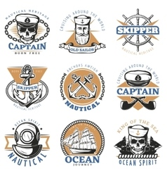 Vintage sailor logo set vector