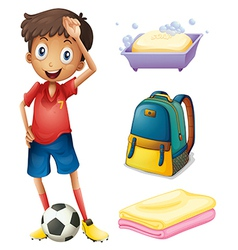 A soccer player with his backpack and bathroom vector image vector image