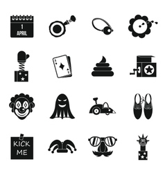 April fools day icons set simple style vector image