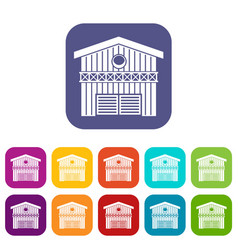 Barn for animals icons set vector