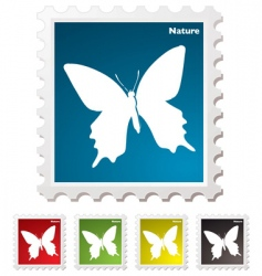 butterfly stamp vector image vector image
