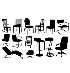 chair silhouettes vector image vector image
