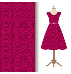 dress fabric with pink royal pattern vector image vector image