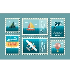 Excursion sea stamp set Summer Vacation vector image vector image