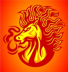 horse fire red logo vector image vector image
