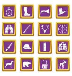 hunting icons set purple vector image vector image