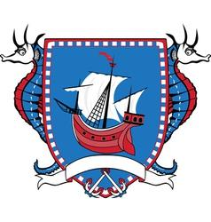 Marine emblem coat of arms sailboat vector image vector image