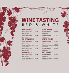 menu for wine tasting patterned bunch of grapes vector image vector image