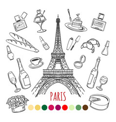 paris coloring page with color swatches vector image