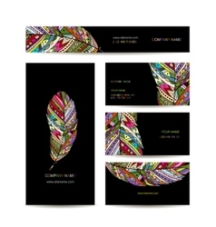 Business cards with colorful feather for your vector image