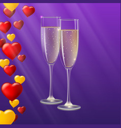 Champagne glasses yellow and red hearts like vector