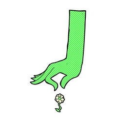 comic cartoon hand picking flower vector image vector image