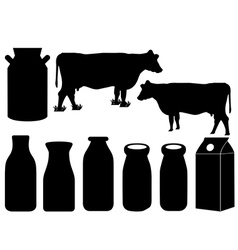 Cow silhouette and milk bottles vector image vector image