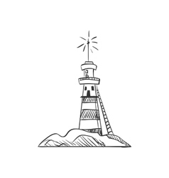 doodle lighthouse vector image vector image