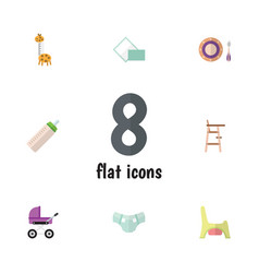 flat child set of feeder toilet napkin and other vector image vector image