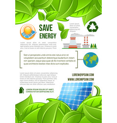 Green energy and nature ecology poster vector